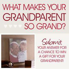 """""""What Makes Your Grandparent So Grand?"""" Grandparents Day Contest from PMall! This is cute and easy - 3 winners will win personalized gifts for their grandparents! #Contest #Grandparents"""