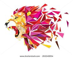 Low polygon Llion geometric pattern explode - Vector illustration - stock vector