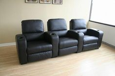 HT638-Black Home Theater Chairs Black Leather $1949 2 Rows of 3 FREE SHIPPING