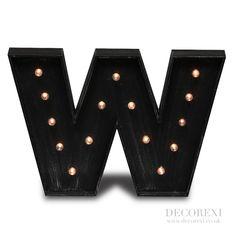 vegas antiqued black wooden w light letter