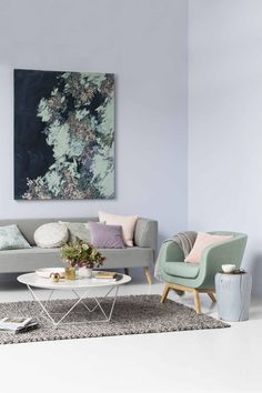 Pastel perfection for the new GlobeWest campaign. I really enjoyed creating this look which is layered with soft colours and scrumptious textures. GlobeWest products: Juno Luna Sofa & Tub Chair, Shelter Side Table, Luna Marble Cushion, Piper Throw, Tilda Tealight and Aura Bobble Rug. Artwork by Amy Wright. Styling: Ruth Welsby Photography: Martina Gemmola
