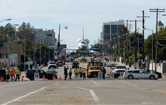 Shuttle on the streets of LA