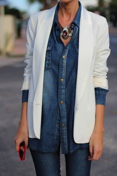 Denim on Denim / Statement Necklace / White Blazer