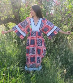 70s Young Innocent by Arpeja Red, White, & Blue Calico Angel Sleeve Dress