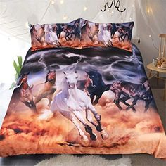 BKasals Horses Bedding Set Dusty Lightning Printed Duvet Cover Double for Adults Bed Cover Photography Bedclothes US Queen Best Bedding Sets, Bedding Sets Online, Queen Bedding Sets, Luxury Bedding Sets, Duvet Sets, Horse Bedding, Horse Quilt, Quilt Bedding, Pottery Barn Teen Bedding