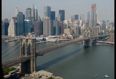 The Brooklyn Bridge, lower Manhattan and East River are seen in this view of the New York City skyline from the air in a helicopter above New York, April AFP PHOTO / Saul LOEB Get premium, high resolution news photos at Getty Images Leaving New York, Lower Manhattan, East River, New Travel, Public Transport, Brooklyn Bridge, So Little Time, San Francisco Skyline, New York City