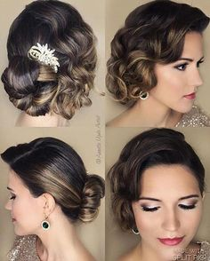 Vintage Hairstyles For Prom Great Gatsby Wedding Ideas Vintage Updo, Look Vintage, Bridal Hair Updo Vintage, Bridesmaid Hair Vintage, Bride Hairstyles, Vintage Hairstyles, Short Bridal Hairstyles, Great Gatsby Hairstyles, Simple Hairstyles