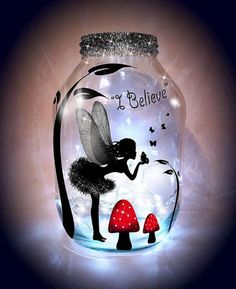 Hand painted Kissing Fairy Lantern candle holder by melOnDesign