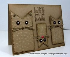 handmade card from Score at Four and a   Quarter: Life is Wonderful ... kraft ... luv the fishtail banner cats ... faux   stitching ... eyes stand out in black with white dots ... linen thread whisters   .... embossing folder texture ... excellent card!!! ... Stampin'   Up!