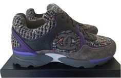 Chanel 2015 Cc Logo Gray Tweed Suede Sneakers Tennis Trainers 37.5 Purple Athletic Shoes. Get the must-have athletic shoes of this season! These Chanel 2015 Cc Logo Gray Tweed Suede Sneakers Tennis Trainers 37.5 Purple Athletic Shoes are a top 10 member favorite on Tradesy. Save on yours before they're sold out!