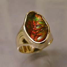 One of a kind fire agate ring in 14K gold by Glenn Dizon Designs.  Please contact me for purchase of this or any other Glenn Dizon creation.