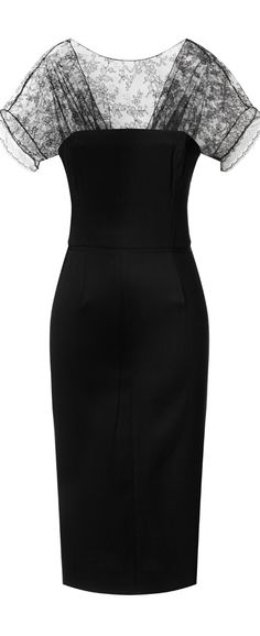 Nina Ricci Pencil Dress with Lace Neckline. #Black #Beauty  #jwb