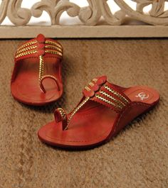 Red & Golden Kolhapuri Chappals