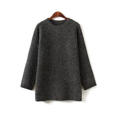 Round Neck Deep Gray Sweater (115 BRL) ❤ liked on Polyvore featuring tops, sweaters, gray top, grey sweater, gray sweater, round neck top and round neck sweater