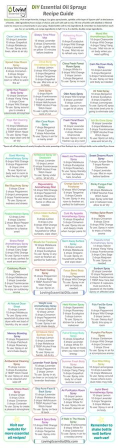 One of the easiest ways to use essential oils every day is by using homemade essential oil sprays. Check out our EO Spray Recipe Guide with over 50 fun and easy