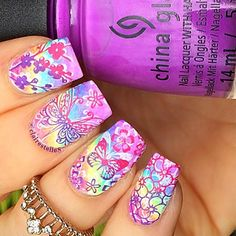 Neon Rainbow Gradient Nail-Art by @clairestelle8.INK361 ♥≻★≺♥