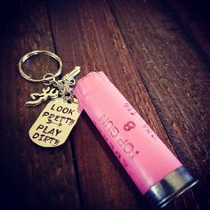 Look pretty play dirty pink shotgun shell keychain confederate flag. Ammo Crafts, Bullet Crafts, Metal Crafts, Pretty L, How To Look Pretty, Birthday Gifts For Boyfriend, Boyfriend Gifts, Shotgun Shell Crafts, Shotgun Shells
