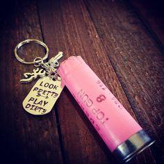 Look Pretty Play Dirty Pink Shotgun Shell Keychain