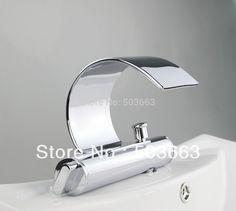 93.68$  Watch now - durable solid brass chrome finish deck mount bathroom faucet basin tap sink faucet vessel mixer vanity faucet L-1003  #aliexpress