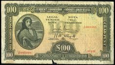 Currency Commission, One Hundred Pounds, 10 September 1928, Z/01 003308, Brennan-McElligott signatures (LTN 7; Pick 7). Edge nicks, a couple of tears at top and a small piece out of lower edge, otherwise about very good, rare