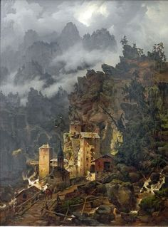 Finstermünz Pass in the Tyrol, Karl Eduard Biermann, 1830 Great Paintings, Landscape Paintings, Landscapes, Berlin, Current Location, Les Oeuvres, Oil On Canvas, 19th Century, Germany