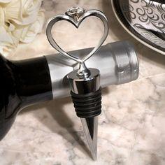 Unique Heart Diamond Ring Silver Wine Stopper Favors