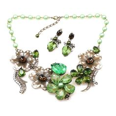 Carnival necklace set with earrings. Exquisite handmade jewelry set - luxury combination of czech glass beads and unique designed rhinestones. $59.90