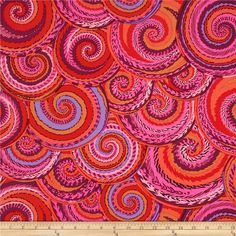 Kaffe Fassett Spring 2014 Collective Volcano Curly Baskets Red from @fabricdotcom  Designed by Philip Jacobs for Westminster Fabrics, this cotton print is perfect for quilting, apparel and home decor accents. Colors include red, pink, purple and burgundy.