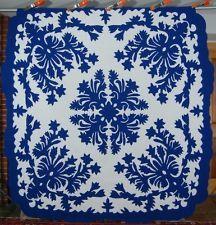 AUTHENTIC Vintage 30s Blue & White Hawaiian Applique Antique Quilt