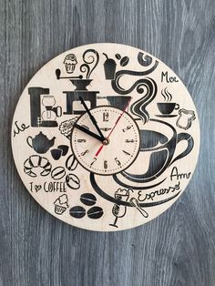 Coffee Shop Cafe Wall Wood Clock $31.99 Size - 12 in / 30 cm Really cool gift and unique home decoration ;) Can be personalized for free ;) Free Shipping WORLDWIDE. Tracking ID is provided. In case the clock comes broken or with defect, I will make you a refund or will send you a replacement!