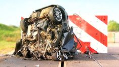 """The final chapter. Skip it and live longer.  """"Watch How Much Is Left From A Family Car When It Crashes Into A Wall At 120 Mph?"""" 120mph Mega Crash! - Fifth Gear"""
