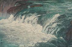 Yoshida Hiroshi - Mountain Stream Rapids, 1928, Woodcut