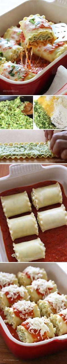 Rollitos de Lasaña rellenos con zapallo italiano y queso