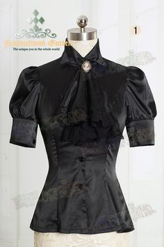 Exclusive Designer Fashion, Neo-ludwig Night Glory Classical Elegant Lolita Dull Silk Short Sleeves Blouse & Jabot