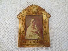 Vintage Florentine Italian Plaque Madonna & Child by artandsalvage