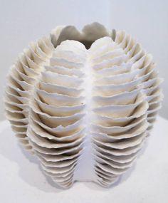 Sandra Davolio   hand-building. vessel. lamellas. futuristic remake   via Ceramic Village