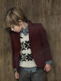 chambray sweater vest and blazer // little gentleman