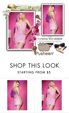 """""""Sweet Pink Heart Print Chemise"""" by labixiaowen ❤ liked on Polyvore featuring Pusheen"""