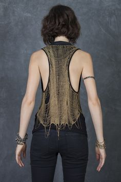 Black with Gold Hand Knitted Chain Top