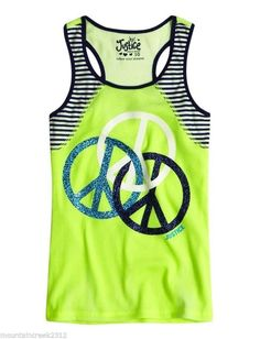 Girls NWT Justice Sparkly PEACE SIGN Graphic Tank Top Tee Size 7  NEW