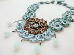 Irish Crochet Lace Jewelry Archaic Beauty II by DorisChiStudio