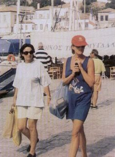Diana in Greece with close friend, Rosa that fateful summer, 1997.