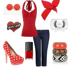 Pin Up #outfit: blue jeans, polka-dotted high heels, red top, amazing accessories