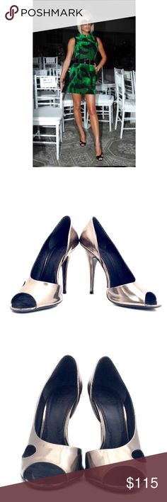 """Givenchy D' Orsay Heels Metallic gunmetal open toe leather heels with cut out at top size 7. Heel is 4.75"""". Excellent condition, faint creasing at top. See additional listing, more pics. Givenchy Shoes Heels"""
