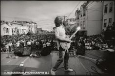Carlos Santana at a free concert in San Francisco's Mission District during a Cinco de Mayo celebration, 1988. Photo cred: Jim Marshall.