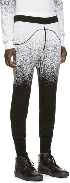 Marcelo Burlon County of Milan Black & White Wool San Carlos Pants