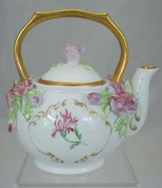 PORCELAIN SMALL TEA POT HAND PAINTED INSECT & FLOWERS,GOLD RIMS ARTIST…