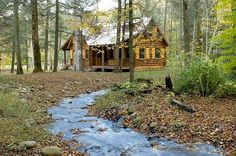 "'Log Cabin in the Woods By: Estemerwalt Log Homes of Honesdale, PA ""The logs come from Estemerwalt Log Homes, a 5th generation, family owned company with 125 years of experience in the lumber industry."""