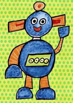 """""""Hello!"""", says Rizzota. It appears to be fun time, so don't be shy! Let this friendly robot kids canvas wall art be the inspiration for your most fantastic robot adventures. Wall decor for kids give us ideas that create imaginative stories of far away lands... and outer space!"""