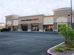 Visit your local Dunn-Edwards paint store in Las Vegas, NV 89123 to shop the highest-quality, best-value paints and painting supplies. Mall Facade, Retail Facade, Building Front, Building Design, Dunn Edwards Paint, Supermarket Design, Strip Mall, Mall Design, Shop Fronts